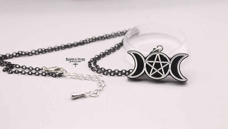 Gothic Resin Black Witch Cat Spell Moon Necklaces