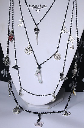 Gothic long multi rosary black witch necklace