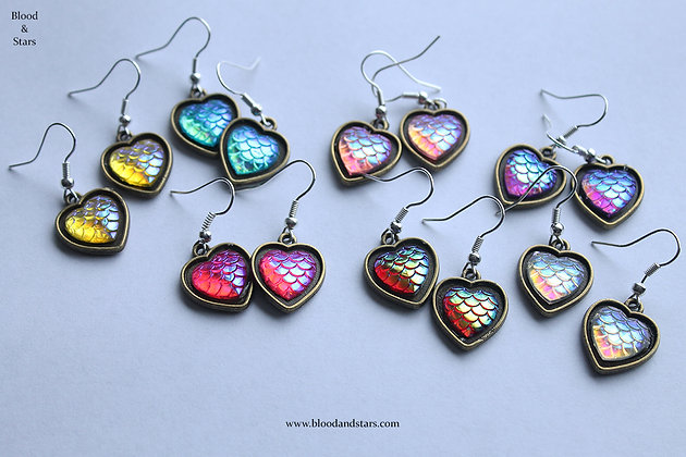 Dragon Scale/ Mermaid Heart Earrings