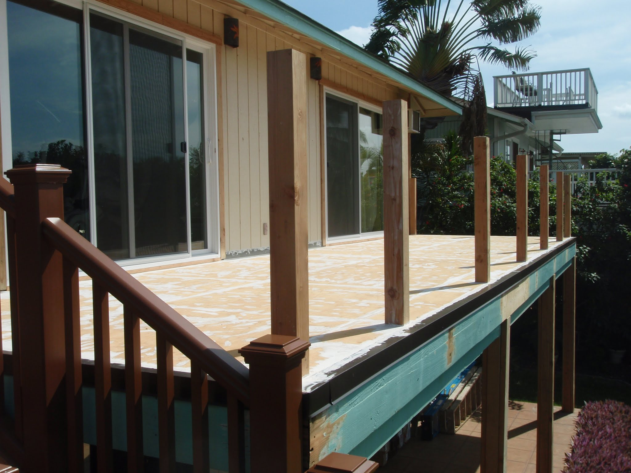 Ply wood decking is flashed, patched & sealed ready for the first Elastomeric coating