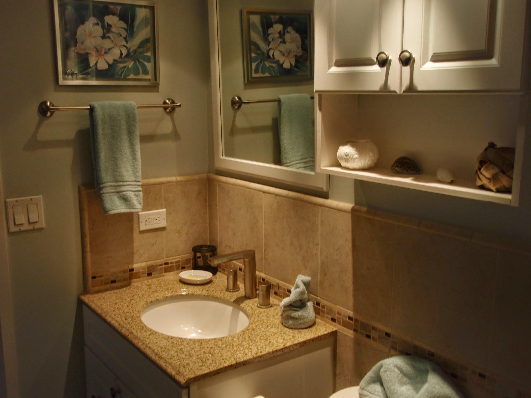 New vanity, sink, faucet & top with tile splash etc