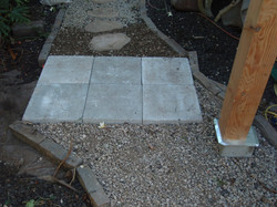 Concrete landing blocks for the base entry of the stairs
