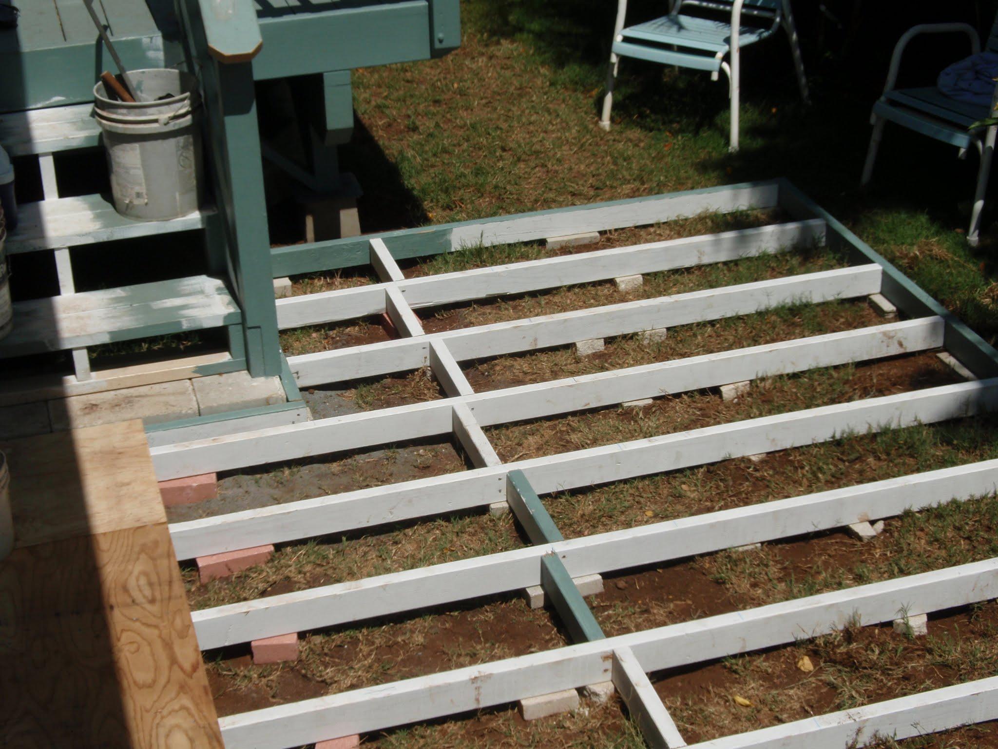 Frame work for ground level deck