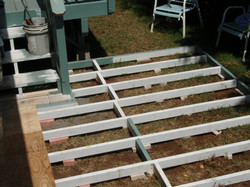 Frame work for ground level deck