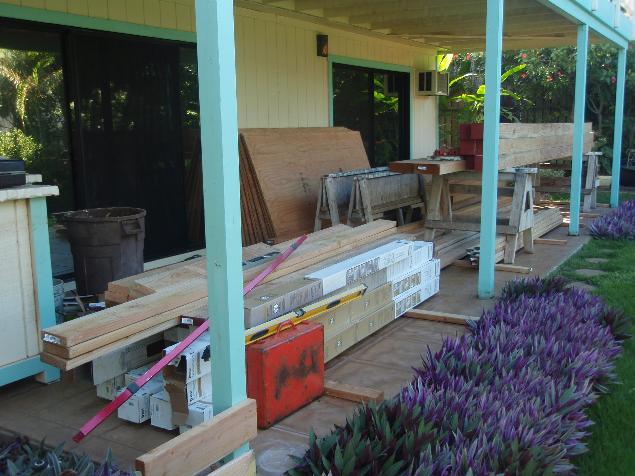 The lower patio was a great work area & storage place for most of my materials