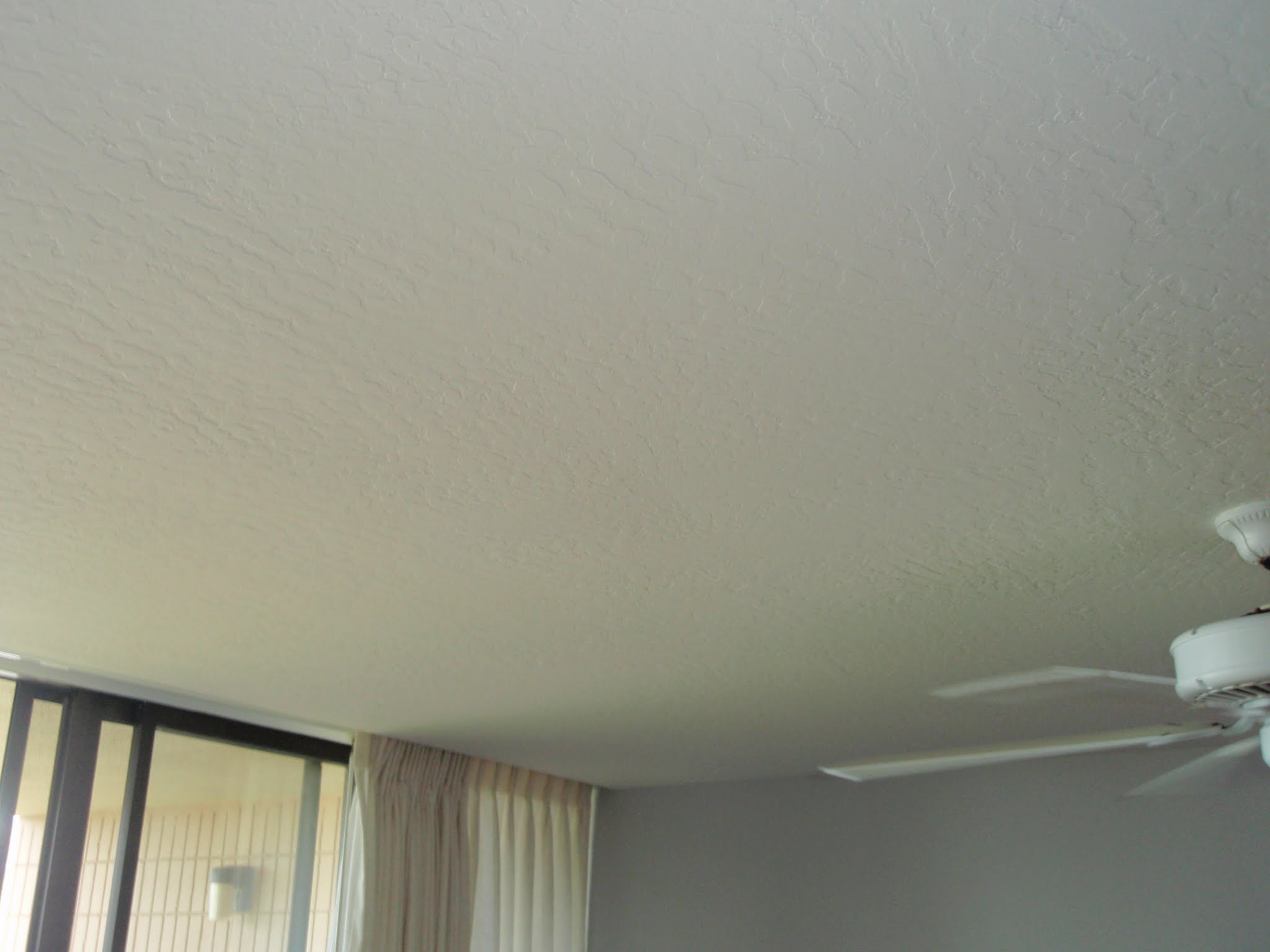 Completely resurfaced ceiling.