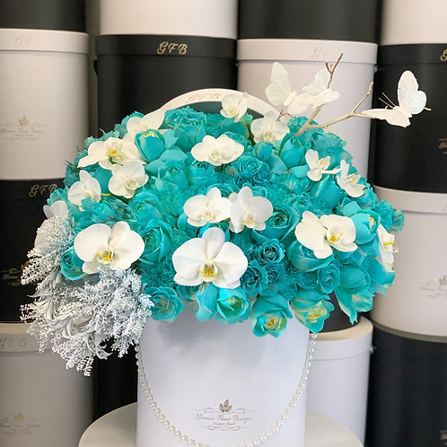 Large Box of Tiffany Roses and white Orchids