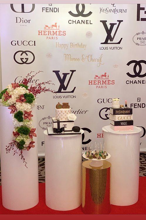 Red Carpet Backdrop with Flowers and Cakes