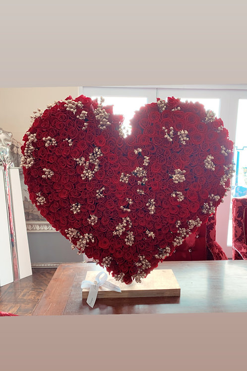 "40"" Heart Shape Flower stand  in color gold and red"
