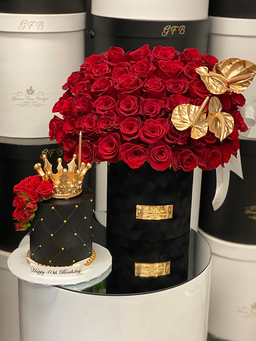 """Medium Size Flower with 4"""" Tall Cake in King Style"""