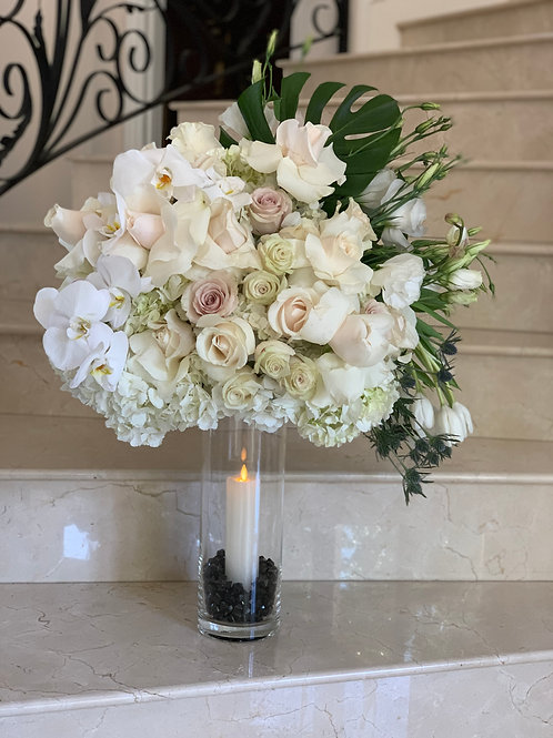 Large Size Flower Arrangement with Clear cylinder Vase and Candle
