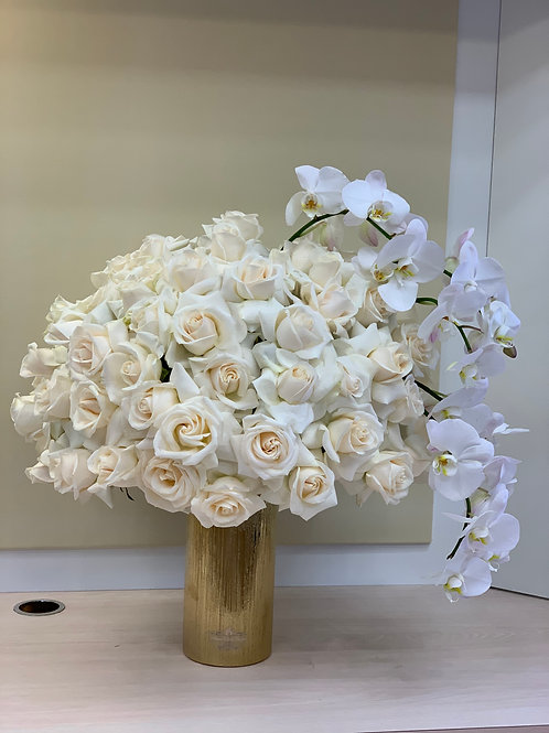 Large Size Flower Arrangement with White Orchild