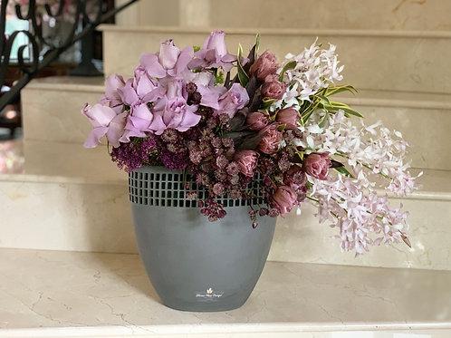 Gray Ceramic vase with flowers
