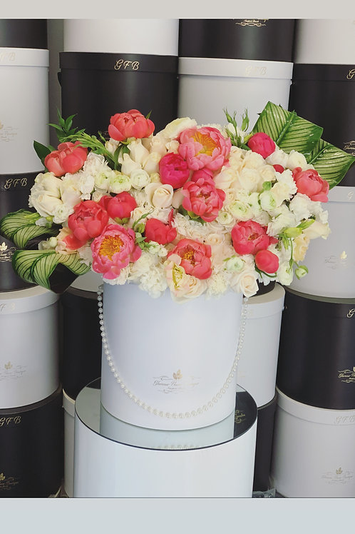 Large Size white roses with coral peonies