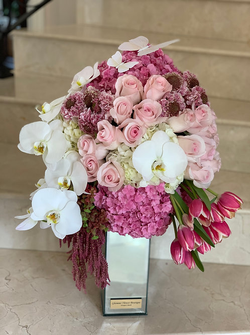 Shades of Pink Flowers on Mirror Vase