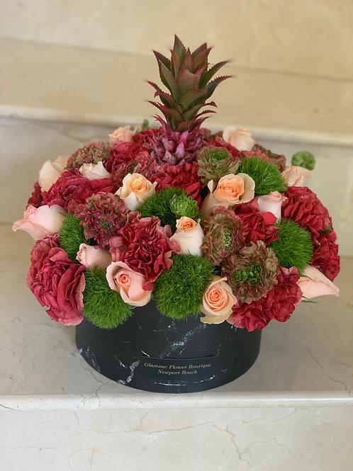 Mix Flowers in Black Box in Medium Size