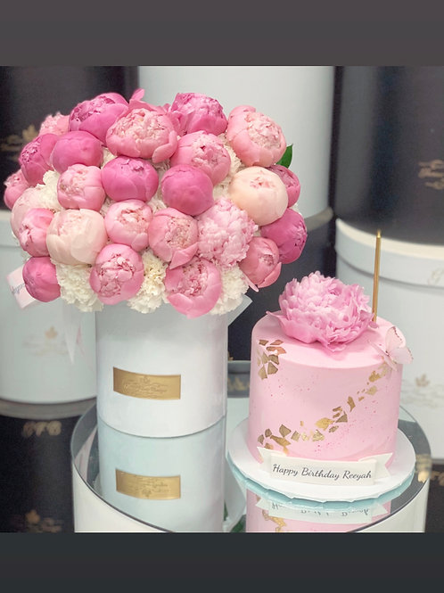 """Set of Peonies Arrangement in Medium size with 6"""" tall cake"""