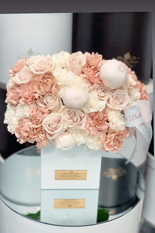 Medium Size Arrangement in Square shape box with white peonies and Roses