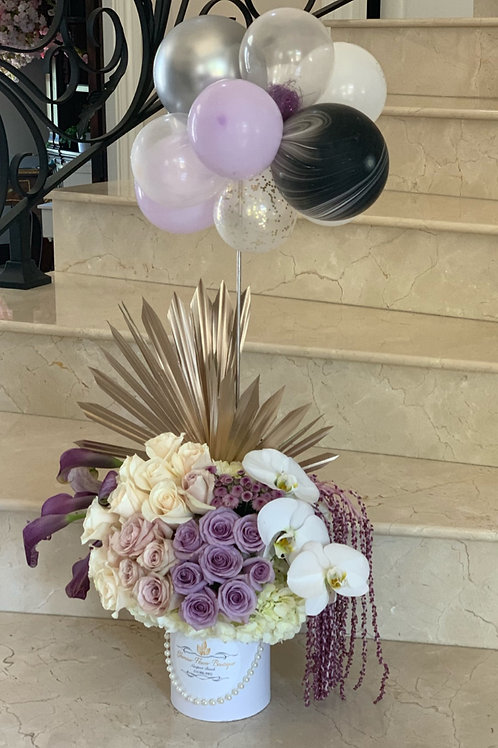 Small Colorful size of Peacock Arrangement in Cylinder Box with Ballons