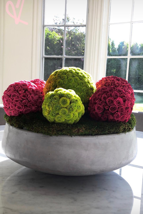 Seven Balls Flowers in Cement Vase