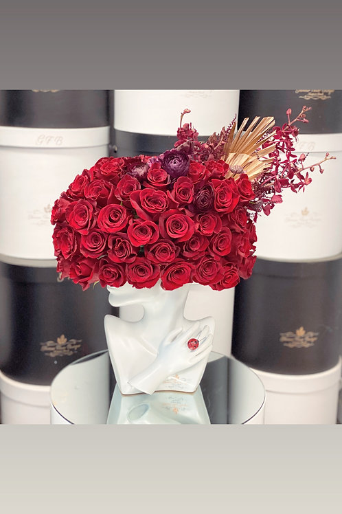 Lady's Hat Arrangement in Red color