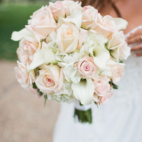 Bride Hand Bouquet Blush Pink Rose With White Calla Lily