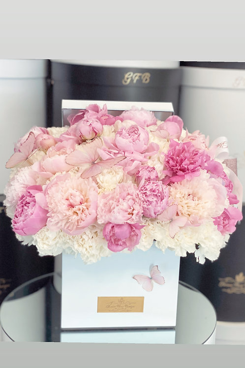 Square Shape Box of Light Pink Peonies in Large Size