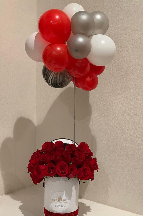 Small Flower Arrangement with Ballons