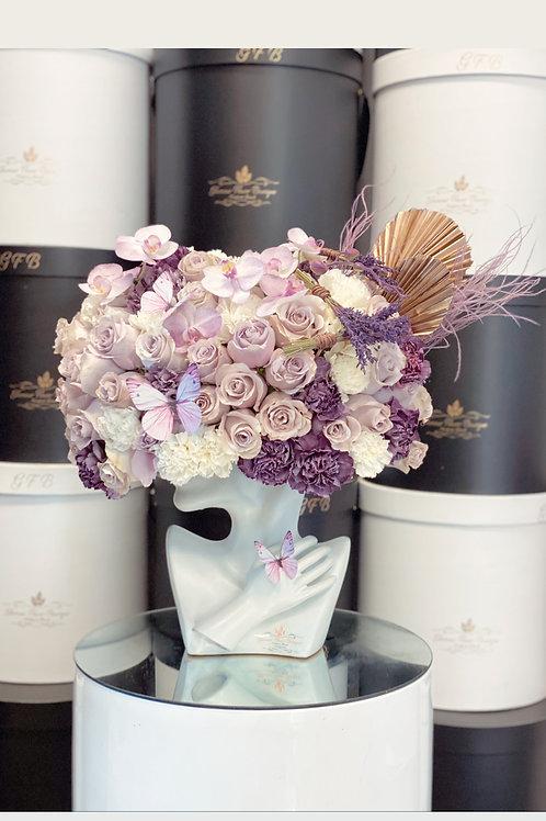 Lady's Hat Arrangement in Purple Color