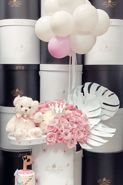 "Set of large Bouquet with Ballons and 4"" tall Cake"