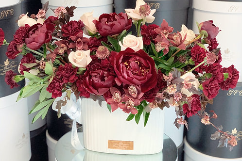 Large Mixed Burgundy Flowers and Blush Pink Roses in Ceramic Vase