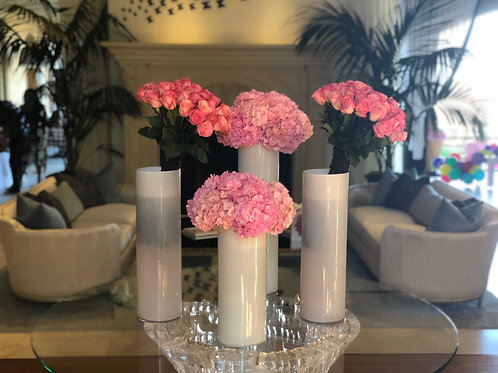 4 Sets of Flowers with Vases