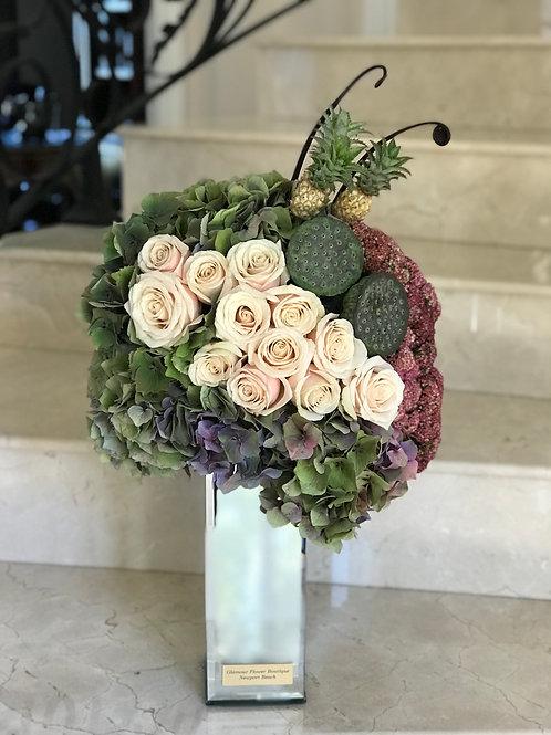 Large Size Flower Arrangement in Mirror Vase