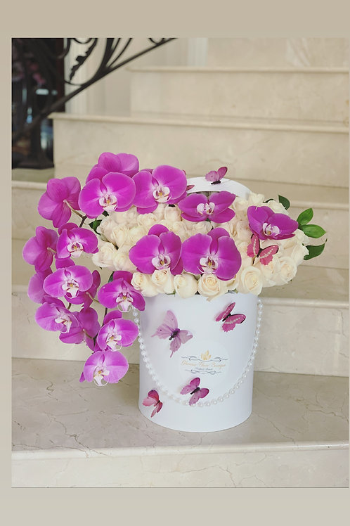 Large Box of Arrangement with Hot Pink Orchids