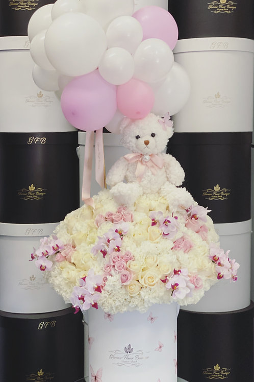 Large Size Welcome Baby Girl with Teddy Bear and Ballons