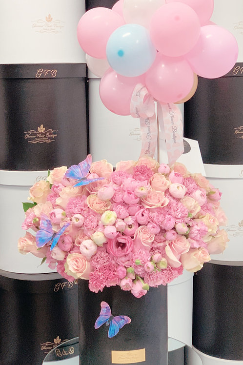 Large Size Flower Bouquet With Ballons and Small Cake