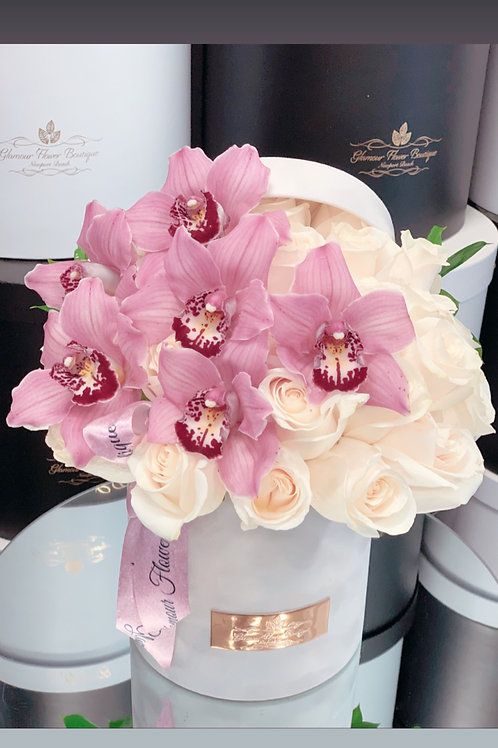 Medium Size Flower Arrangement with Pink Orchids