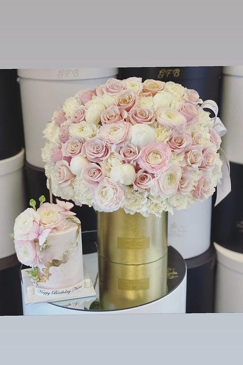 Medium Size Mixed Blush and white flowers with Cake