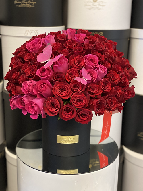 Large Size Flower Arrangement in Red and Hot pink