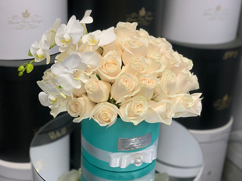 Medium Size Tiffany Style Roses Arrangement with orchids