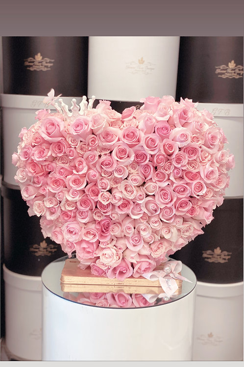"""15"""" Tall Heart Arrangment with Corner Crown"""