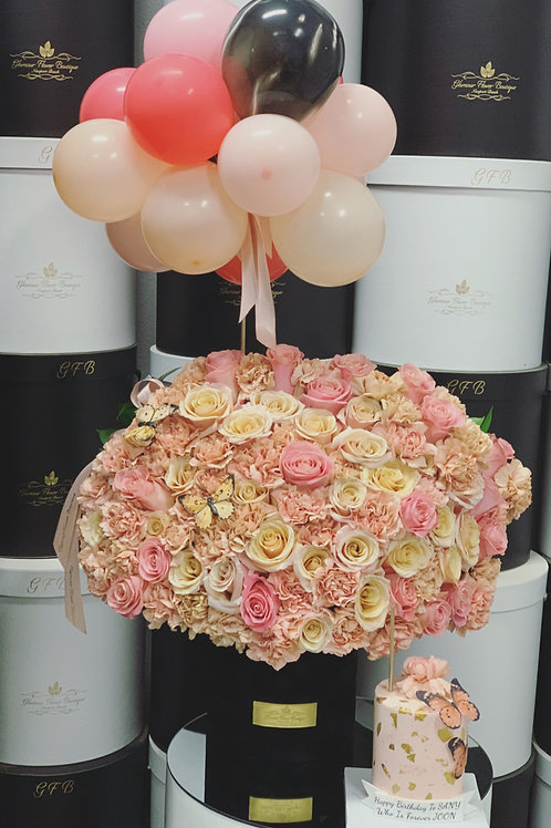 "large Arrangement with Ballons  4"" Cake"
