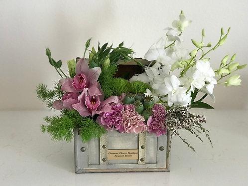 Lily Arrangement in Antique Box