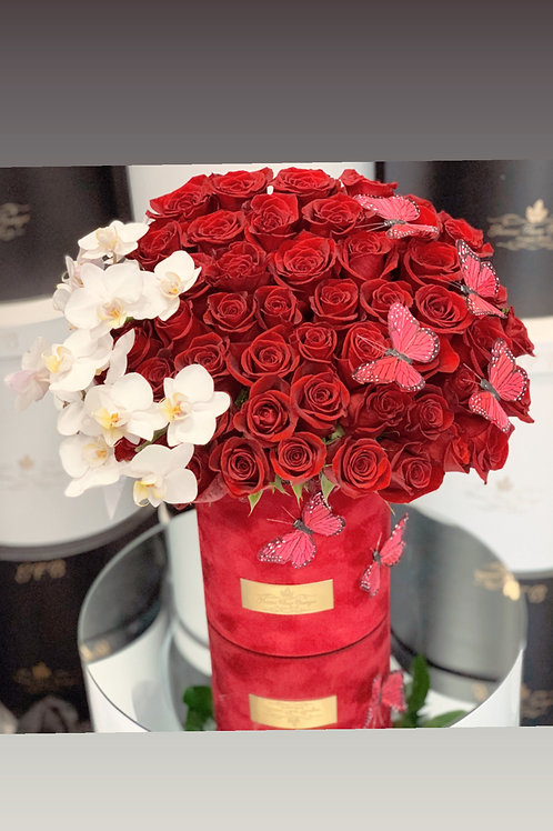Large Size Flower arrangement with 50 red roses and Orchilds