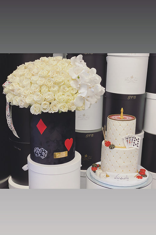 Extra Large Flower Arrangement with two Levels Cake in Casino Style