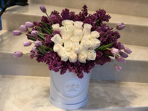 Large Spring Size Flowers in Cylinder Box