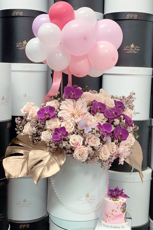 """Light Pink and purple Orchild Arrangement with balloons and 4"""" tall cake"""