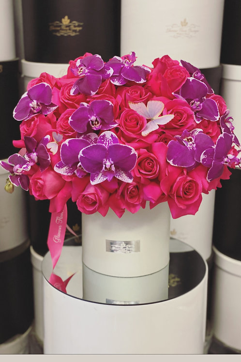 Large Size Flower Arrangement in White Box with Hot Pink and Purple colors