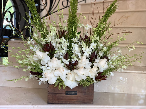 Large size Flower Arrangement in Rustic Box