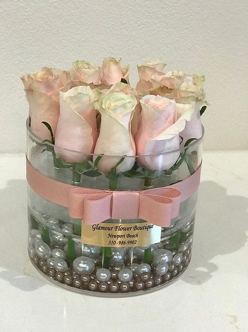 Round Clear Preserved Rose Box